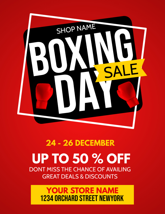 Boxing day, boxing day sale Flyer (US Letter) template