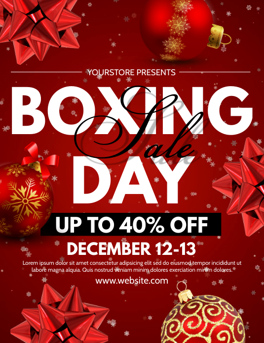 Boxing Day Flyer (Letter pang-US) template
