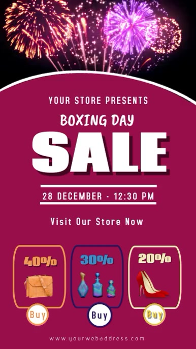 Boxing Day Retail Sale poster digital display template