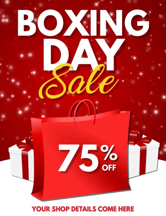 boxing day sale, boxing day retail, christmas Volante (Carta US) template