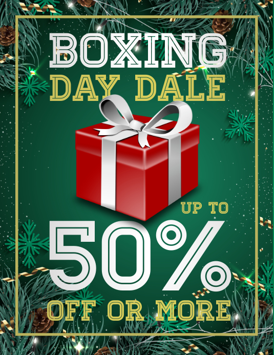 boxing day sale, boxing day retail, christmas Ulotka (US Letter) template