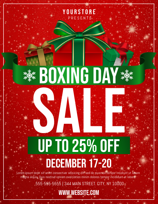 Boxing Day Sale Løbeseddel (US Letter) template