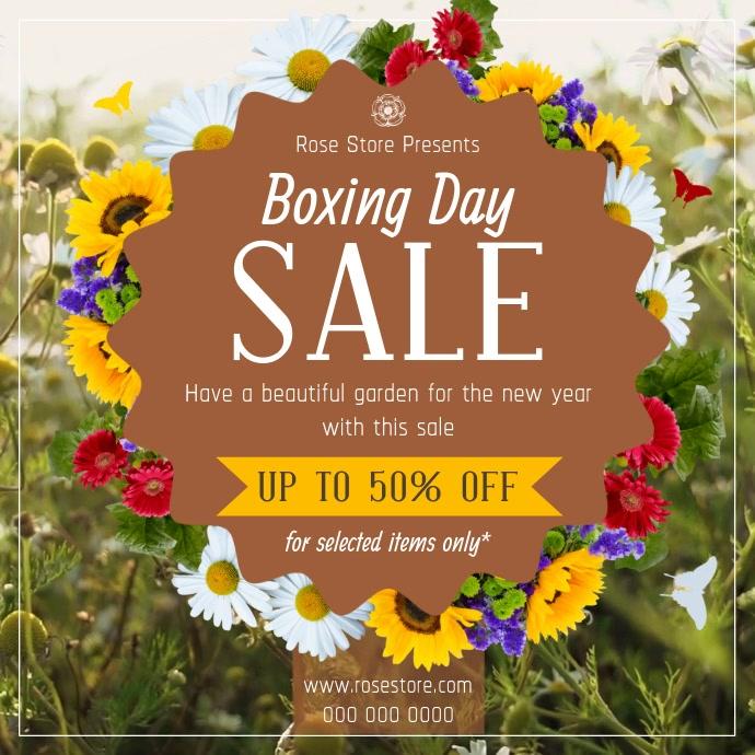 Boxing Day Sale Floral Shop Square Video Cuadrado (1:1) template