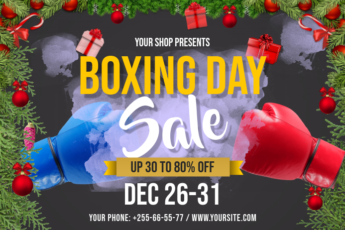 Boxing Day Sale Landscape Poster template
