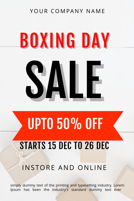 BOXING DAY SALE TEMPLATE Banner 4' × 6'