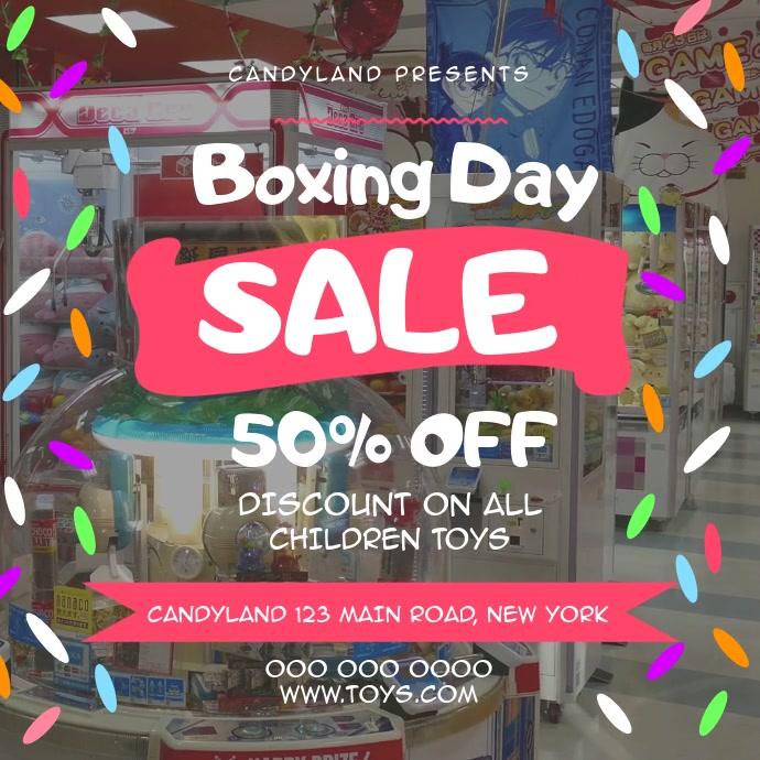 Boxing Day Sale Toy Shop Square Video Cuadrado (1:1) template