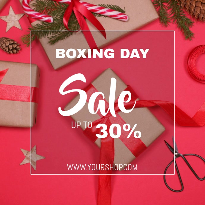 Boxing day sale video flyer template Cuadrado (1:1)
