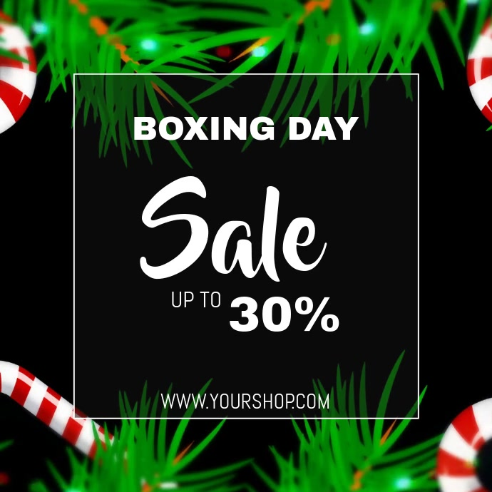 Boxing day sale video flyer template Kwadrat (1:1)