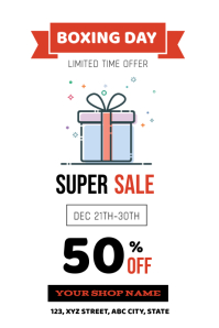 Boxing Day Super Sale Flyer โปสเตอร์ template