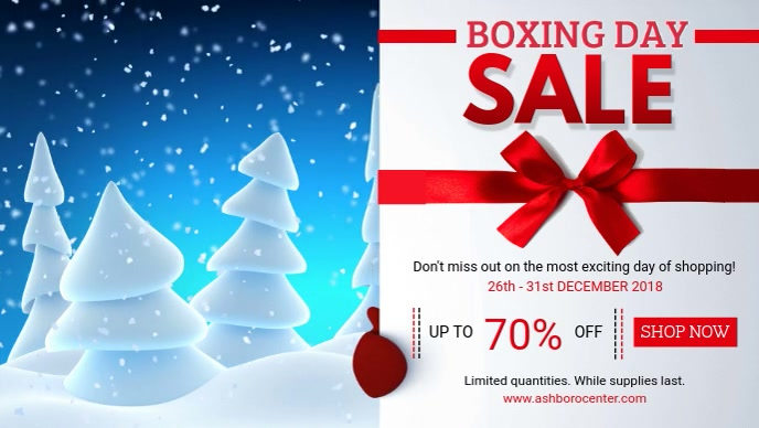 Boxing Day Winter Deals Sale Banner Facebook Cover Video (16:9) template