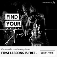 boxing lessons and classes instagram post adv template