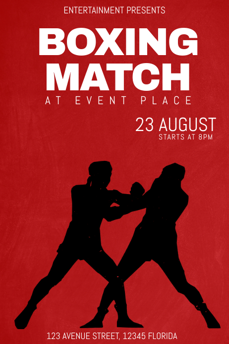 boxing match event tournament poster flyer template