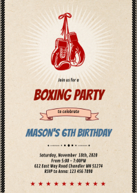 Boxing party invitation A6 template