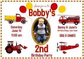 Boy's 2nd Birthday Truck Theme Pocztówka template