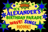 "Boy's Birthday Drive By Parade 36""x24"" Poster Plakat template"