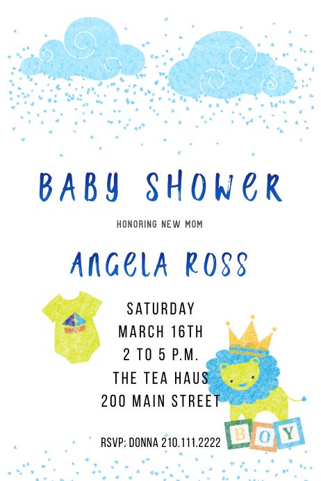 Boy Baby Lion Shower Invite