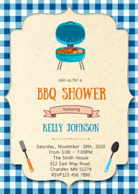Boy bbq shower party invitation