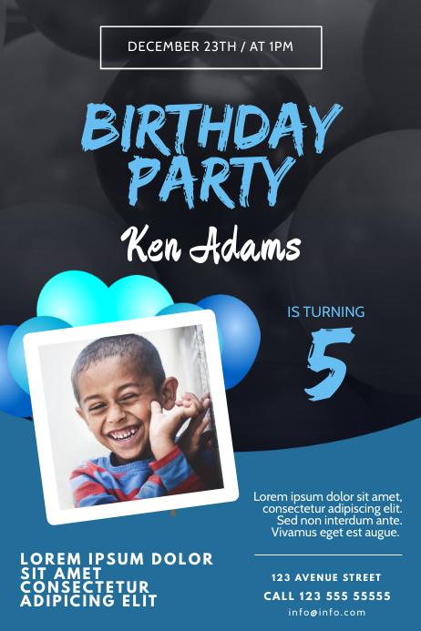 Boy Birthday Party Invitation FLyer Template