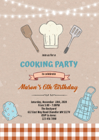 Boy cooking theme invitation A6 template