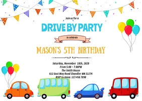 Boy drive by birthday invitation A6 template