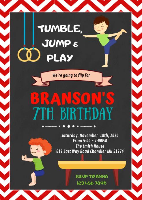 Boy gymnastic birthday party invitation