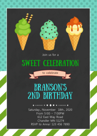 Boy ice cream birthday party invitation