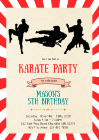 Boy Karate birthday party invitation