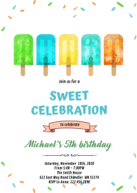 Boy popsicle birthday invitation