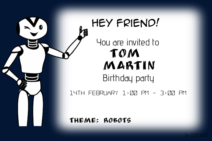 boy robot theme birthday party invitations template landscape