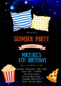 Boy slumber birthday party invitation A6 template
