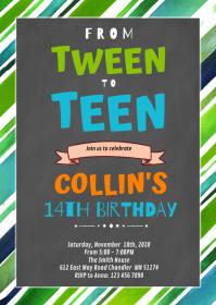 Boy tween to teen Birthday Invitation A6 template