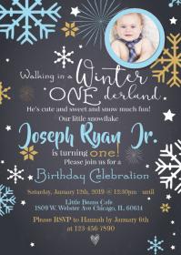 Boy Winter Onederland First Birthday Invite A6 template