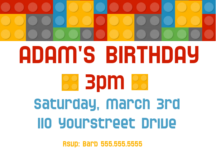 Boys Lego Birthday Party Invitation