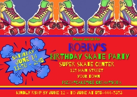 Boys Skate Birthday Invitation Kartu Pos template