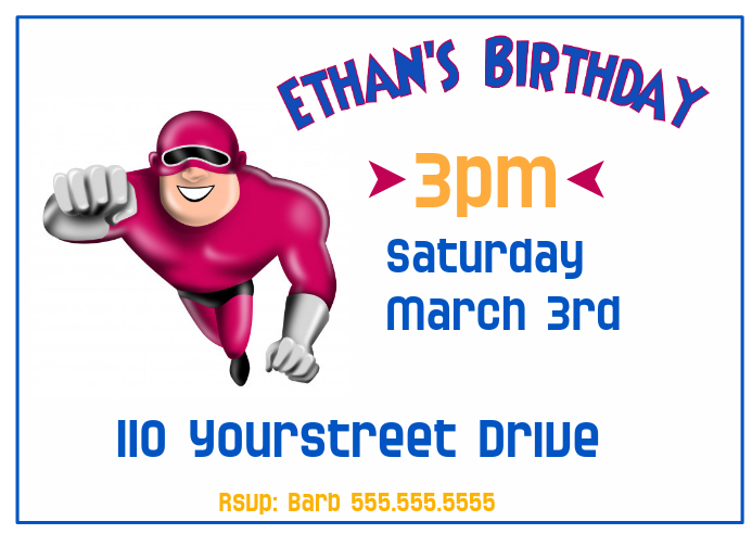 Boys Super Hero Birthday Party Invitation