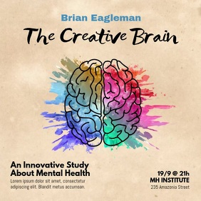 Brain Watercolor Splash Square Video template