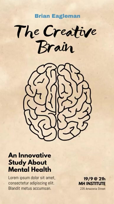 Brain Watercolor Splash Template Digital na Display (9:16)