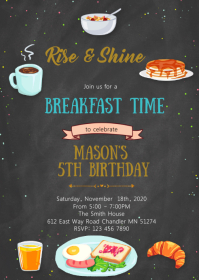Breakfast birthday invitation