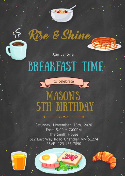 Breakfast birthday invitation