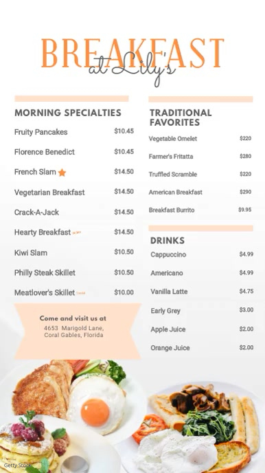 Breakfast Menu Digital Display Board Digitalanzeige (9:16) template