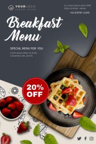 Breakfast Menu Discount Cartaz template