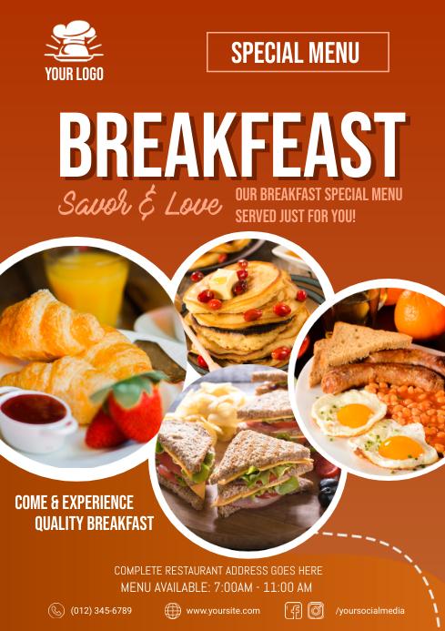Breakfast Menu Flyer A4 template