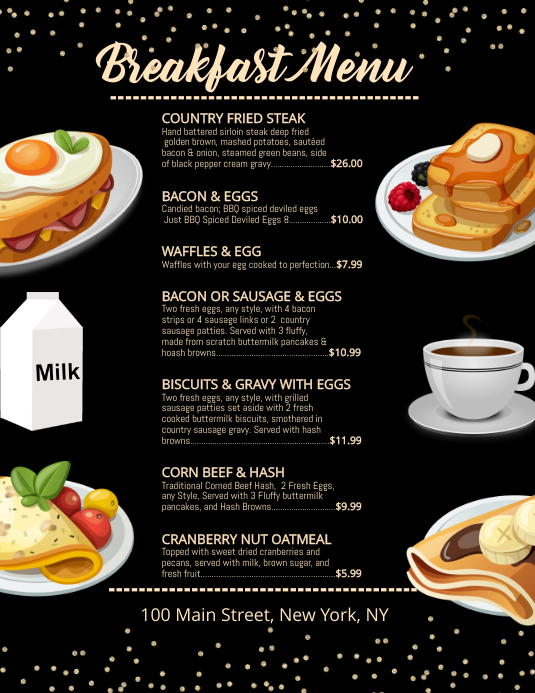 breakfast menu template postermywall
