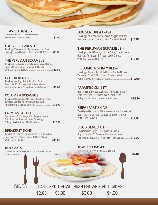 copy of breakfast menu