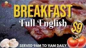 Breakfast Menu Promo Poster Template Pantalla Digital (16:9)