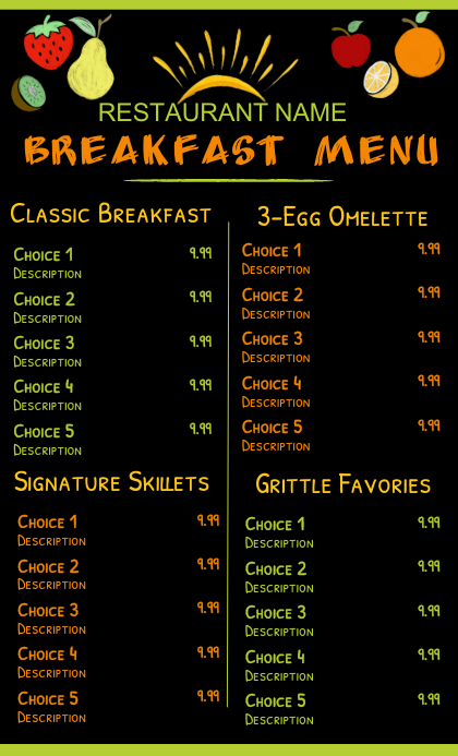 Breakfast Menu Template VSA Wetlik