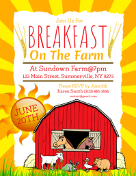 Breakfast On The Farm Flyer template