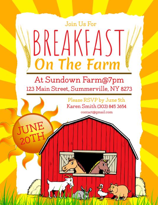 Breakfast On The Farm Flyer