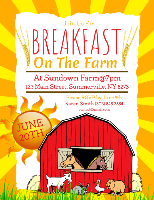 Breakfast On The Farm Flyer
