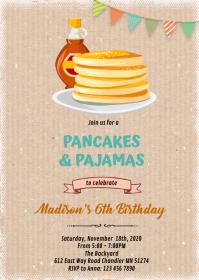 Breakfast pancake fundraiser slumber invite A6 template